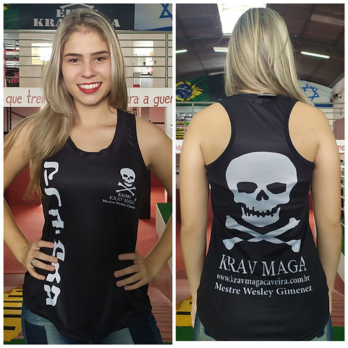 Regata FEMININA Dryfit Preta Krav Maga Caveira®
