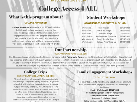 Shell Bank Announces the 2019-2020 College Access 4 All program for 7th grade students