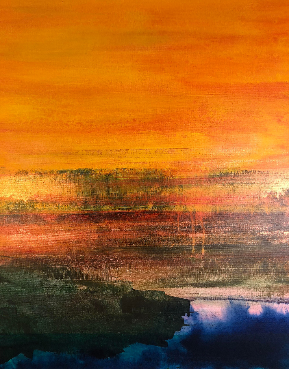 yellow sky sunset, 24 x 30 in. acrylic on canvas