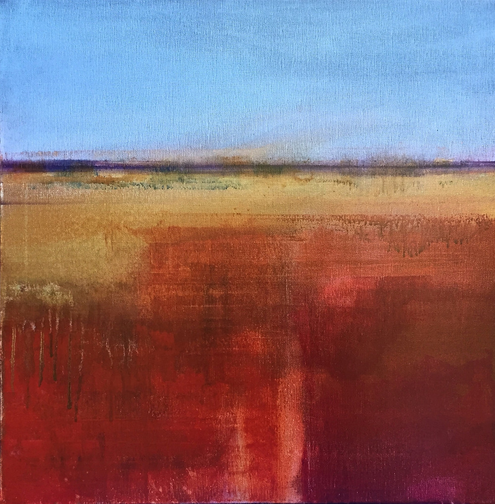 Horizon West #2, 24 x 24 in. water media on canvas.