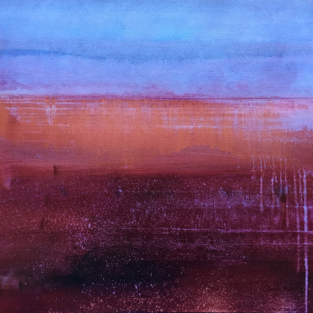 Horizon West #1, 24 x 24 in. water media on canvas.