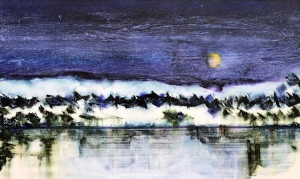 Orange Moon, winter sky