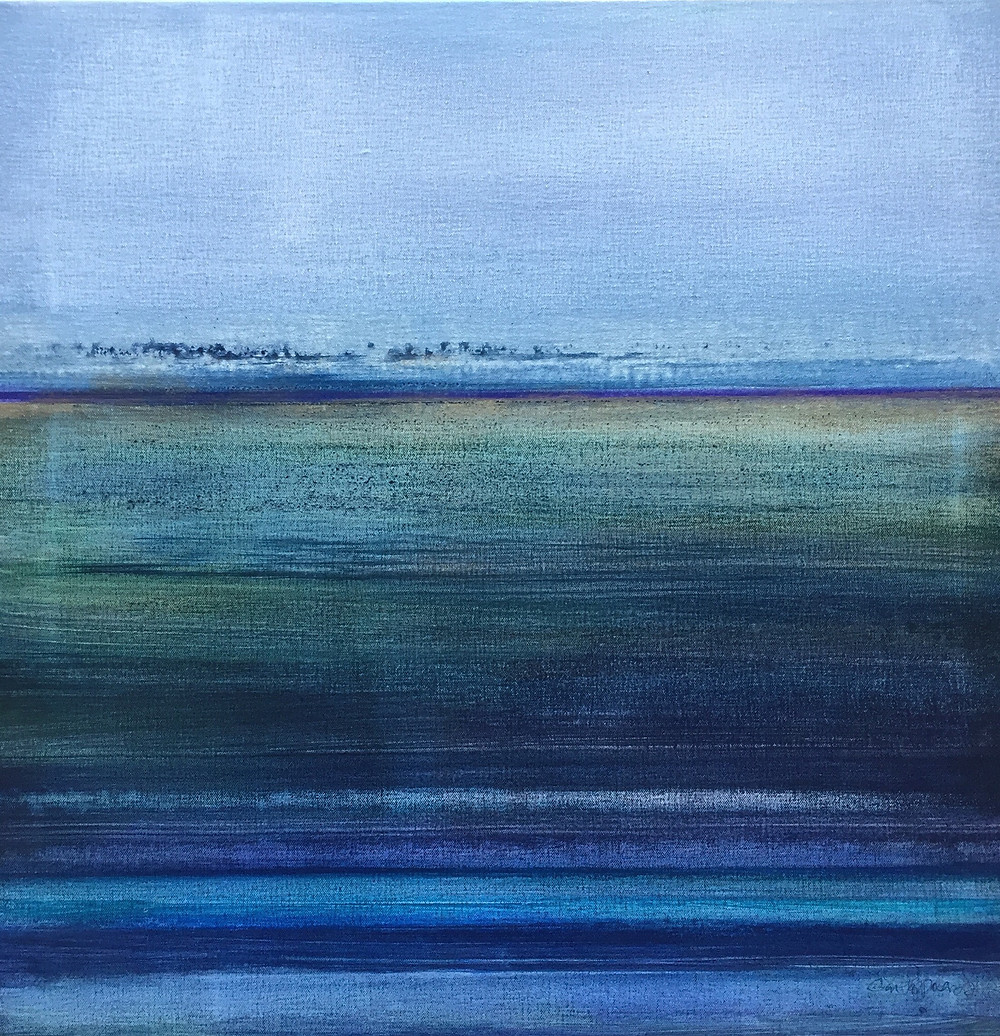 Adrift, 24 x 24 in. water media on canvas.