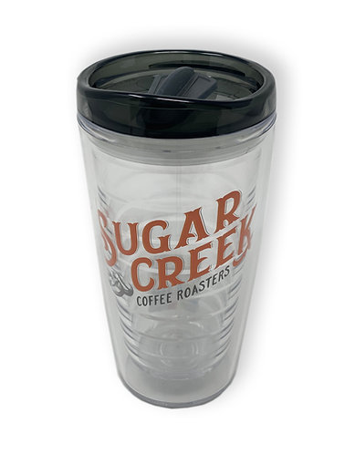 Acrylic Clear Coffee Tumbler with Grey Lid