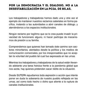 POR LA DEMOCRACIA Y EL DIAGOLO, NO A LA DESESTABILIZACION DE LA PROVINCIA DE BUENOS AIRES.