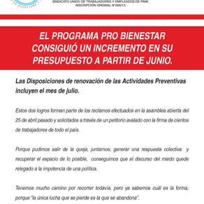 EL PROGRAMA PRO BIENESTAR CONSIGUIÓ UN INCREMENTO EN SU PRESUPUESTO A PARTIR DE JUNIO.