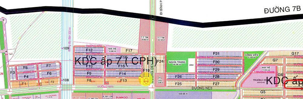 Bản đồ đất nền và nhà phố khu F Mỹ Phước 2, 3