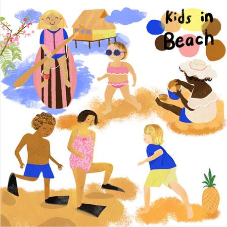 kids in beach 2020.6