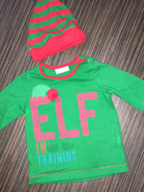 Next elf in training top with hat 0-3 months