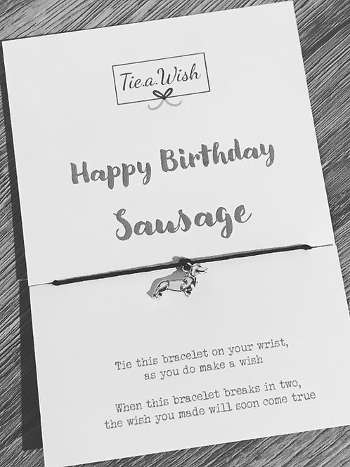 Happy birthday sausage wish bracelet