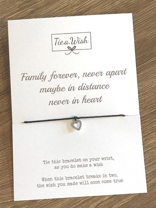 Family forever, never apart wish bracelet