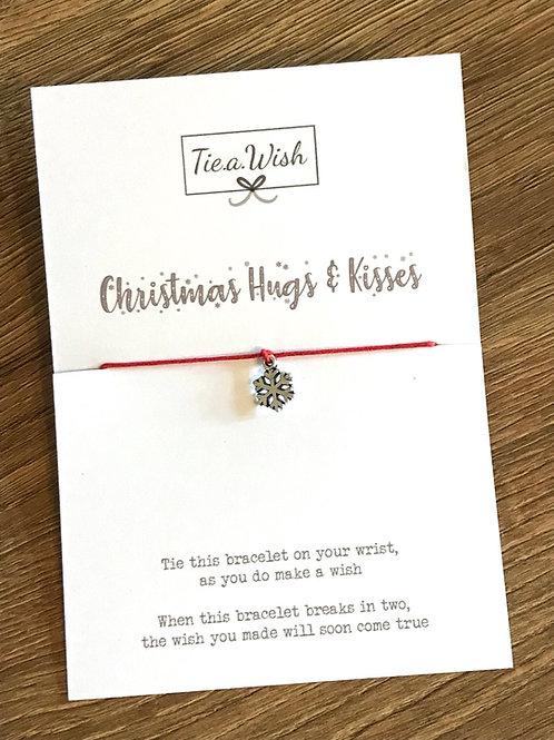 Christmas hugs and kisses wish bracelet