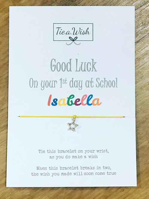 Good luck first day at school wish bracelet