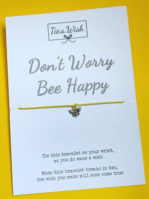 Don't worry Bee happy wish bracelet