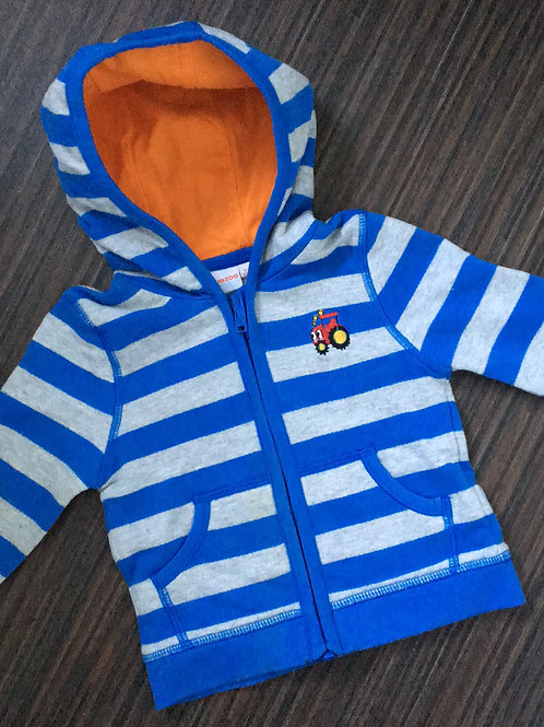 Bluezoo tractor blue striped zip hoodie 3-6 months