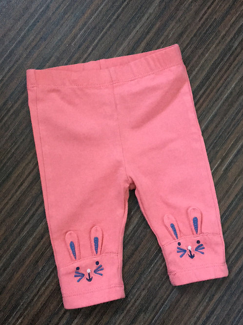 0-3 months bunny pink leggings