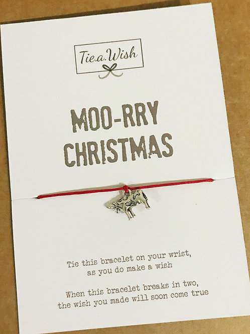 Moo-rry Christmas cow wish bracelet