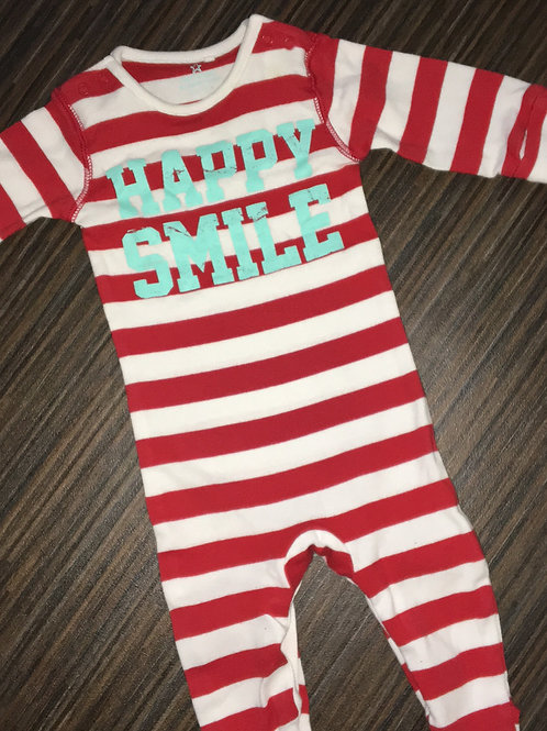 Next sleepsuit red striped with happy smile slogan 0-3 months