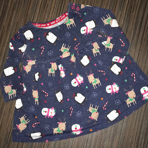 F&F Christmas dress navy blue 3-6 months