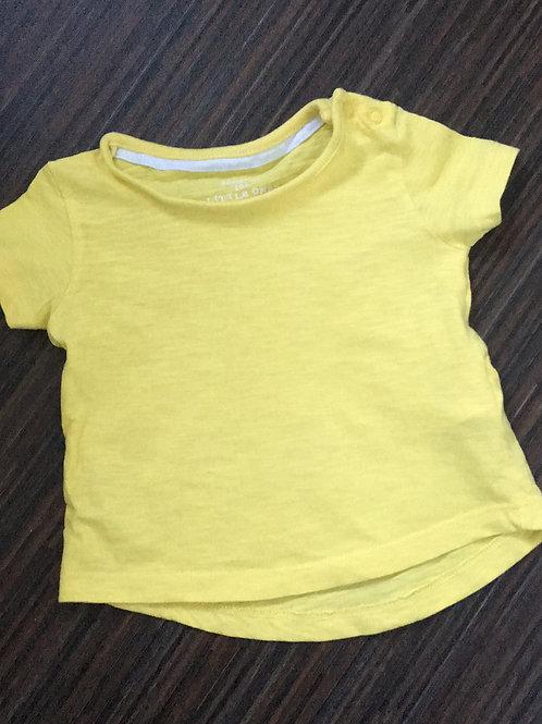F&F pale yellow tshirt 0-3 months