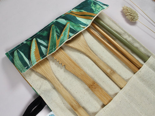 Reusable Cutlery Set - Ecofriendly Bamboo Cutlery Set in RND Fabric Roll