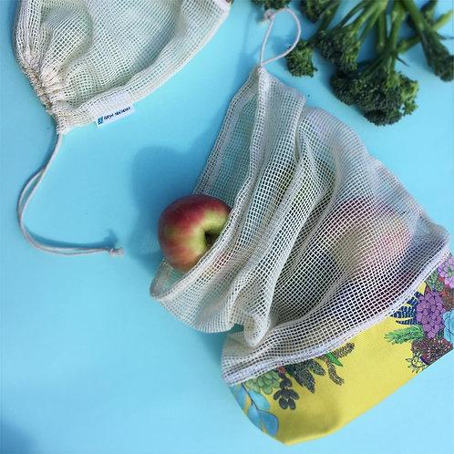 Reusable Vegetable & Fruit Net bags. Produce bag. Reusable shopper.