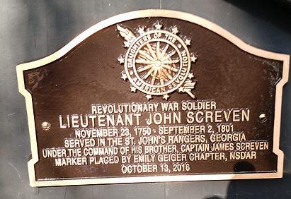 Lieutenant John Screven, Revolutionary War Soldier DAR Grave Marking