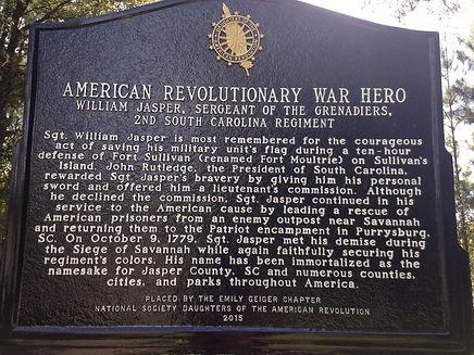 William Jasper, Sergeant of the Grenadiers, 2nd South Carolina Regiment Plaque