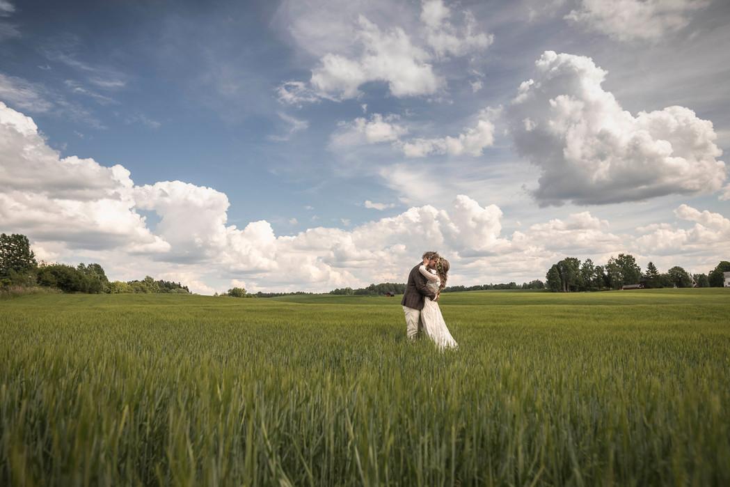 Brudepar på grønn eng