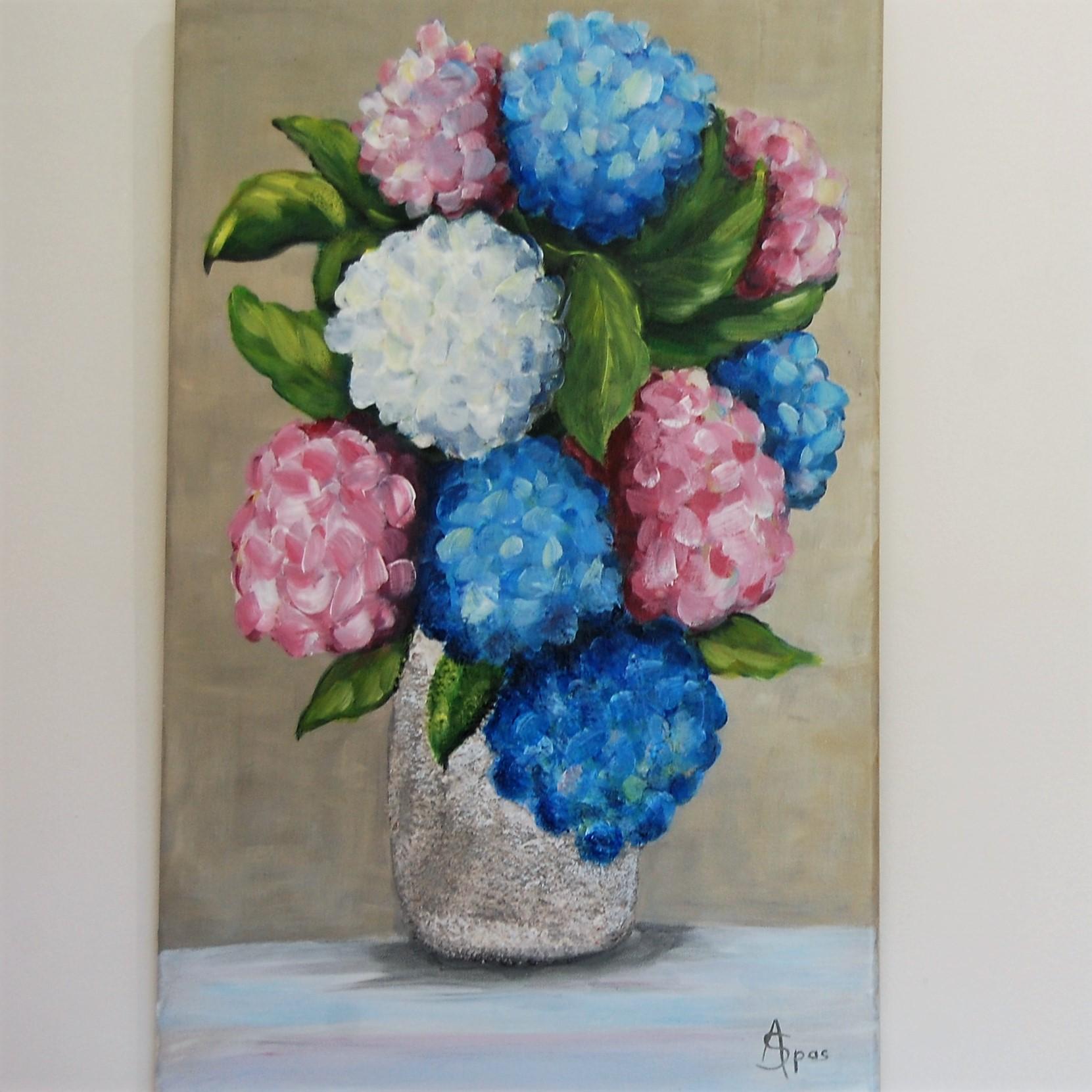 Bouquet d'hortensias 38x61