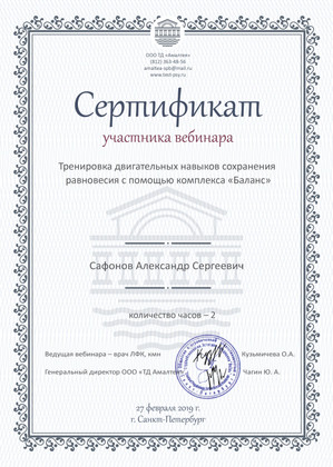 Сертификат - вебинар - 2019 год.