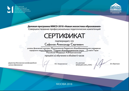 """Сертификат - Деловая программа ММСО-2018 """"Новая экосистема образования"""" - 2018 год."""