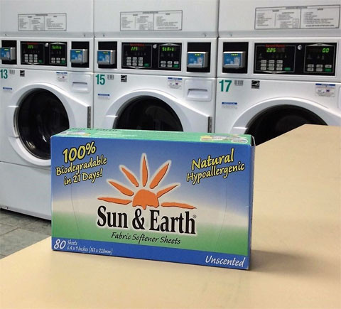 a box of Sun & Earth Unscented Fabric Softener Sheets