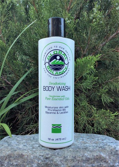 a bottle of Global Balance Deodorizing Body Wash