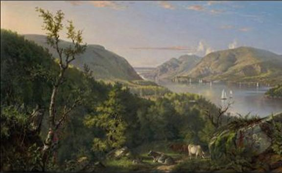Painting of the Hudson River. In the foreground cows grazing, farmland/forest. The Hudson River divides painting. Across the river are mountains. View of the Highlands. John Ferguson Weir. 1862