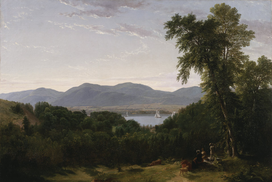 Painting of the Hudson River with lush trees in the foreground and mountains on the far side of river. Beacon Hills on the Hudson. Asher Brown Durand 1852.