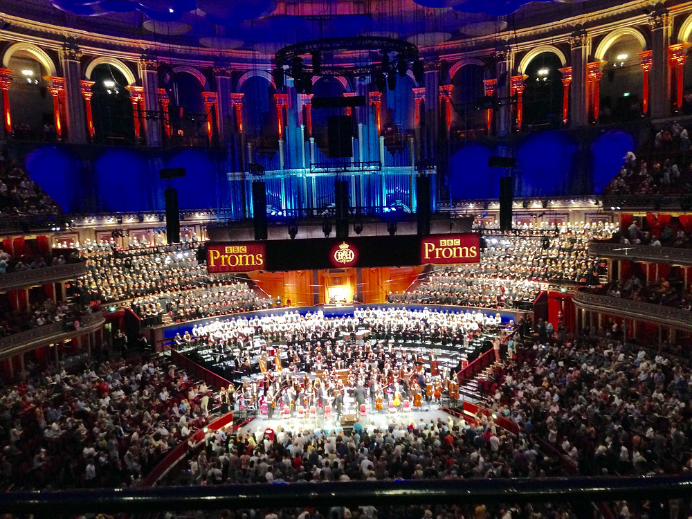view of the stage at the conclusion of the concert.  Royal Albert Hall, BBC Proms.