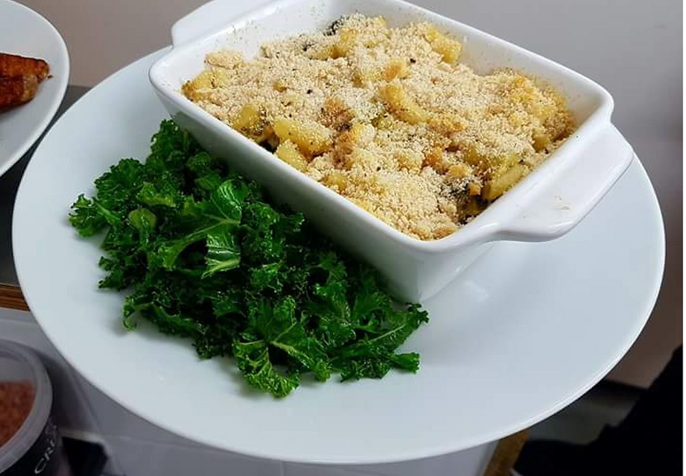 Mac and cheese casserole with braised kale
