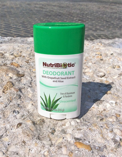 a stick of NutriBiotic Unscented Deodorant