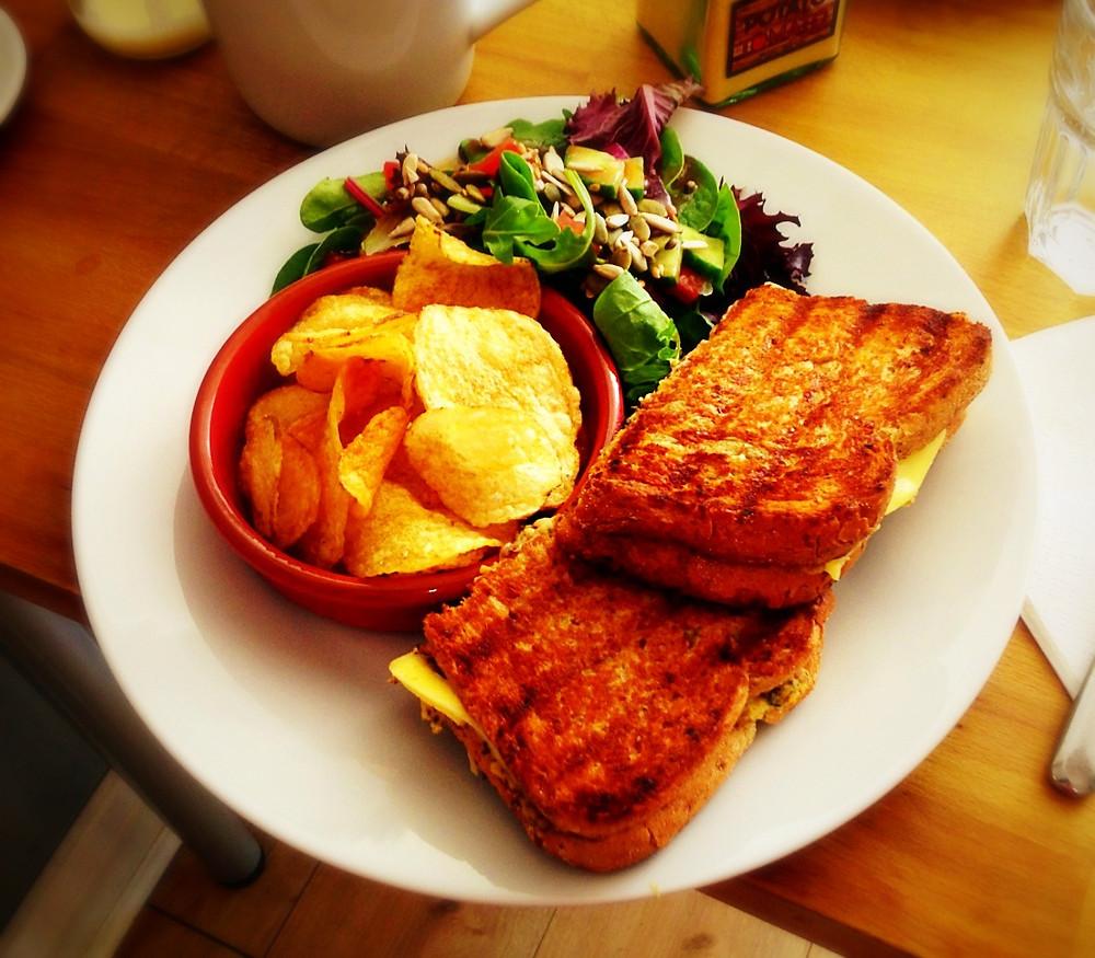 Grilled Tofuna, crisps and salad