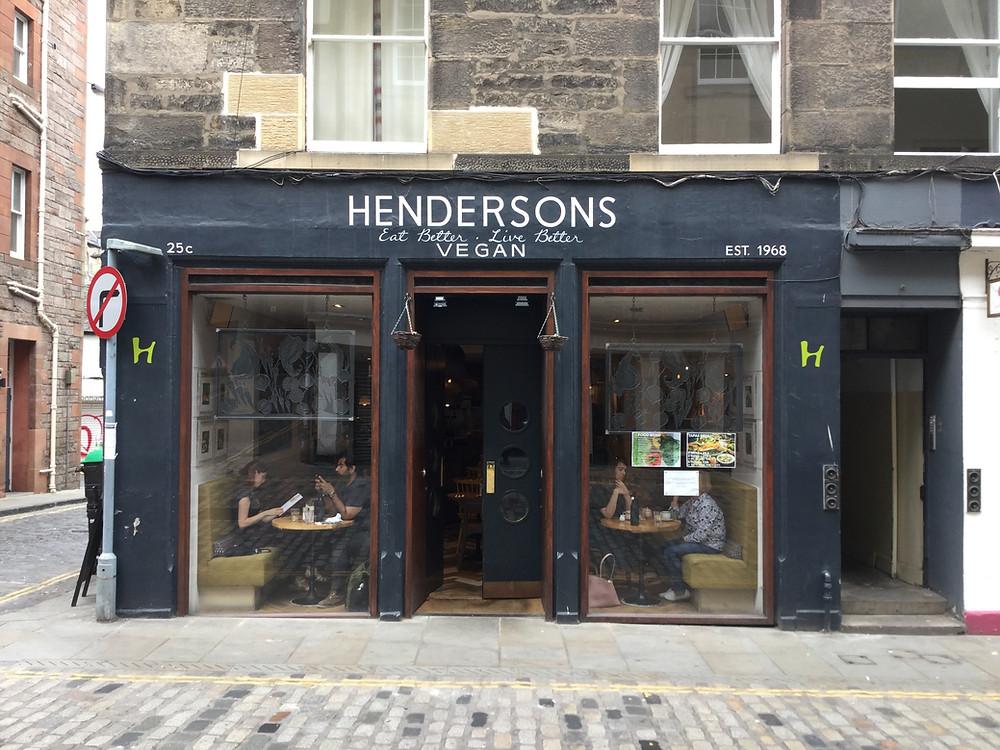 exterior of Hendersons Vegan restaurant.  Edinburgh Scotland