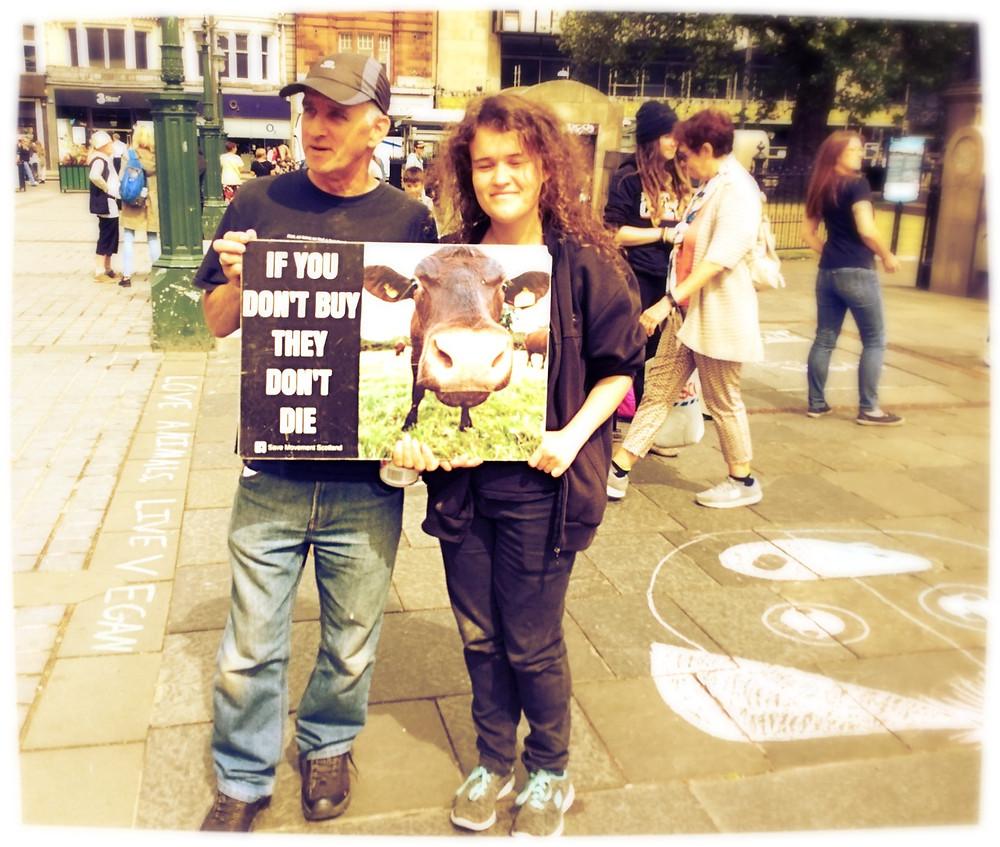 Vegans in Edinburgh spreading the word - no cruelty to animals.