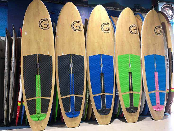 SUP Deckgrip_5 piece Grey Green Strip
