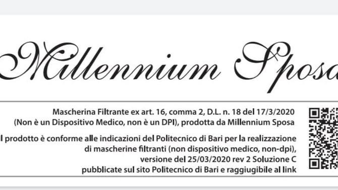 Millennium Sposa: Accreditata con il Politecnico di Bari per le Mascherine!