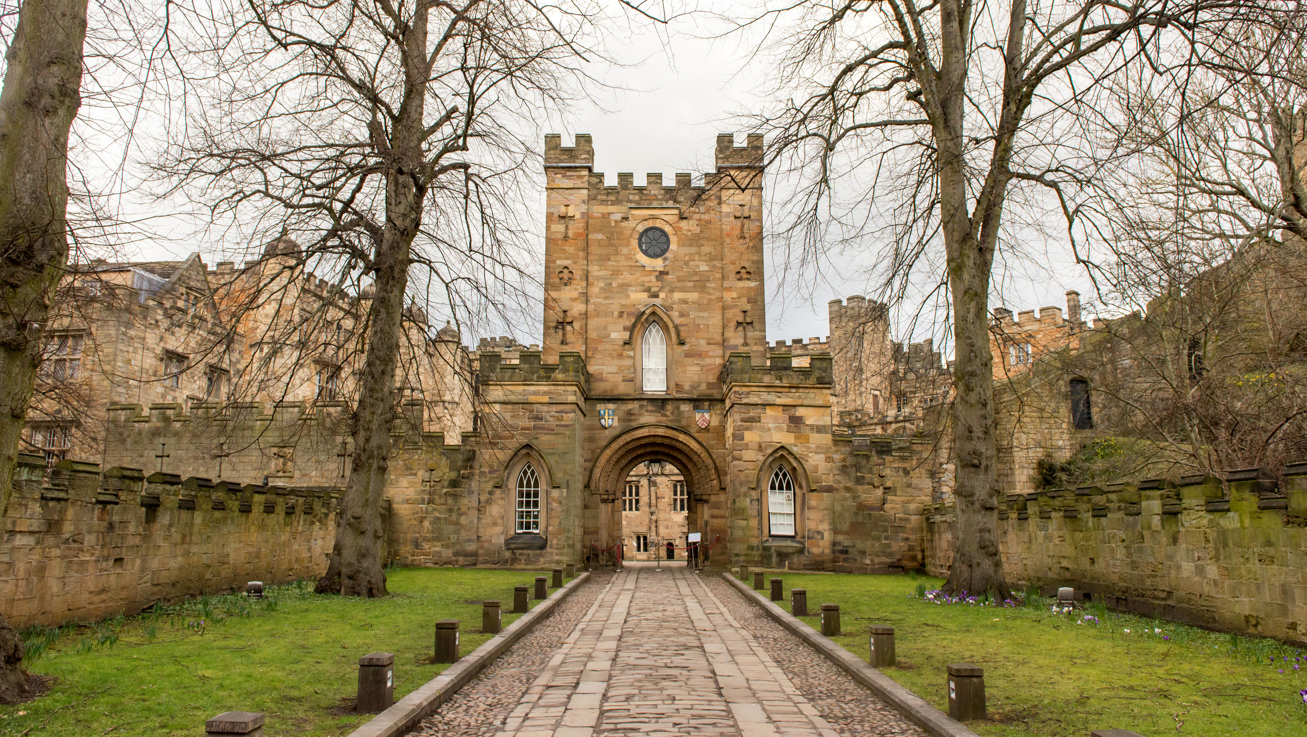 Pathway entrance and gateway to Inner Bailey of historic Durham Castle in Durham City and County