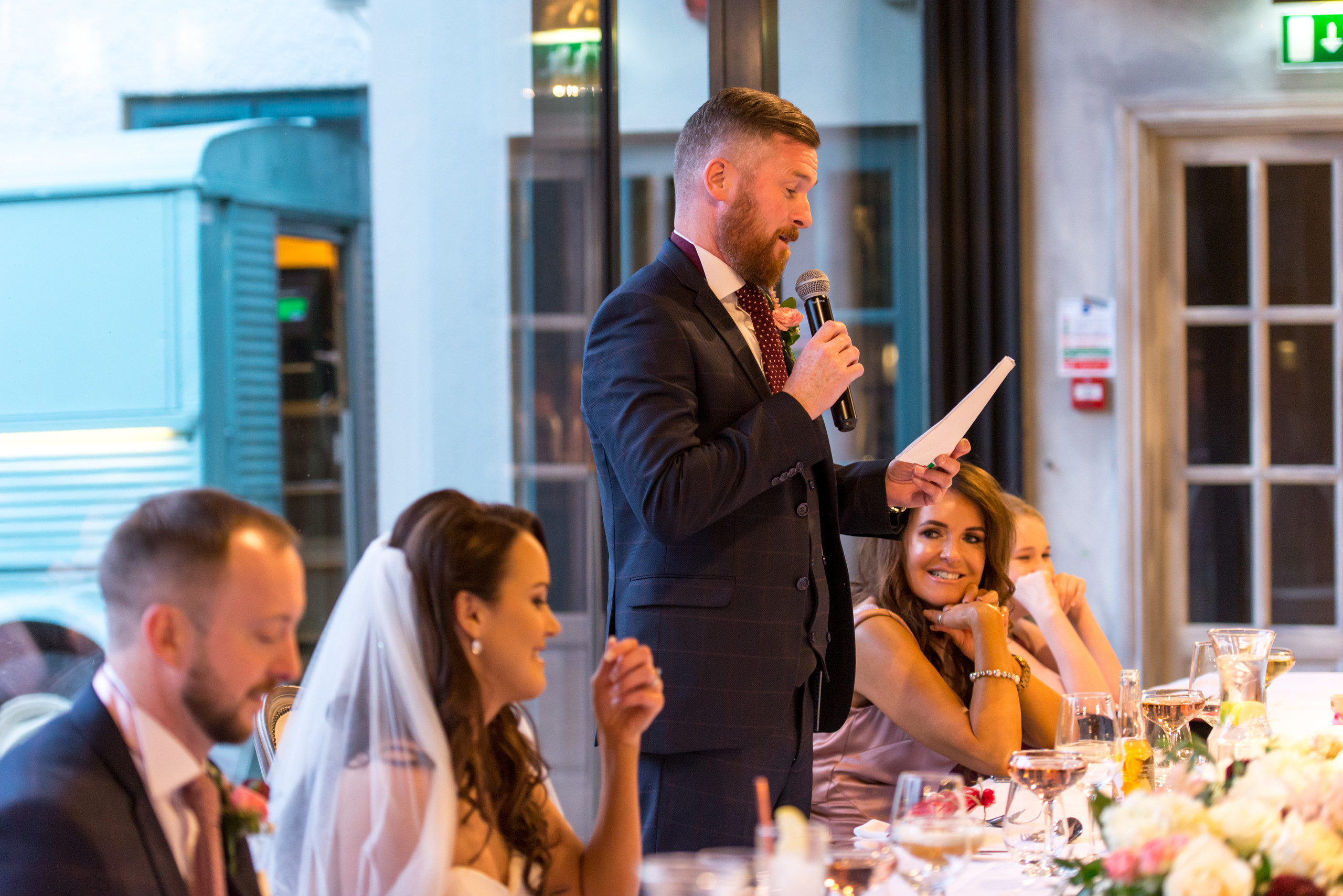 Bride's dad giving wedding day speech at Le Petit Chateau in Otterburn, Northumberland
