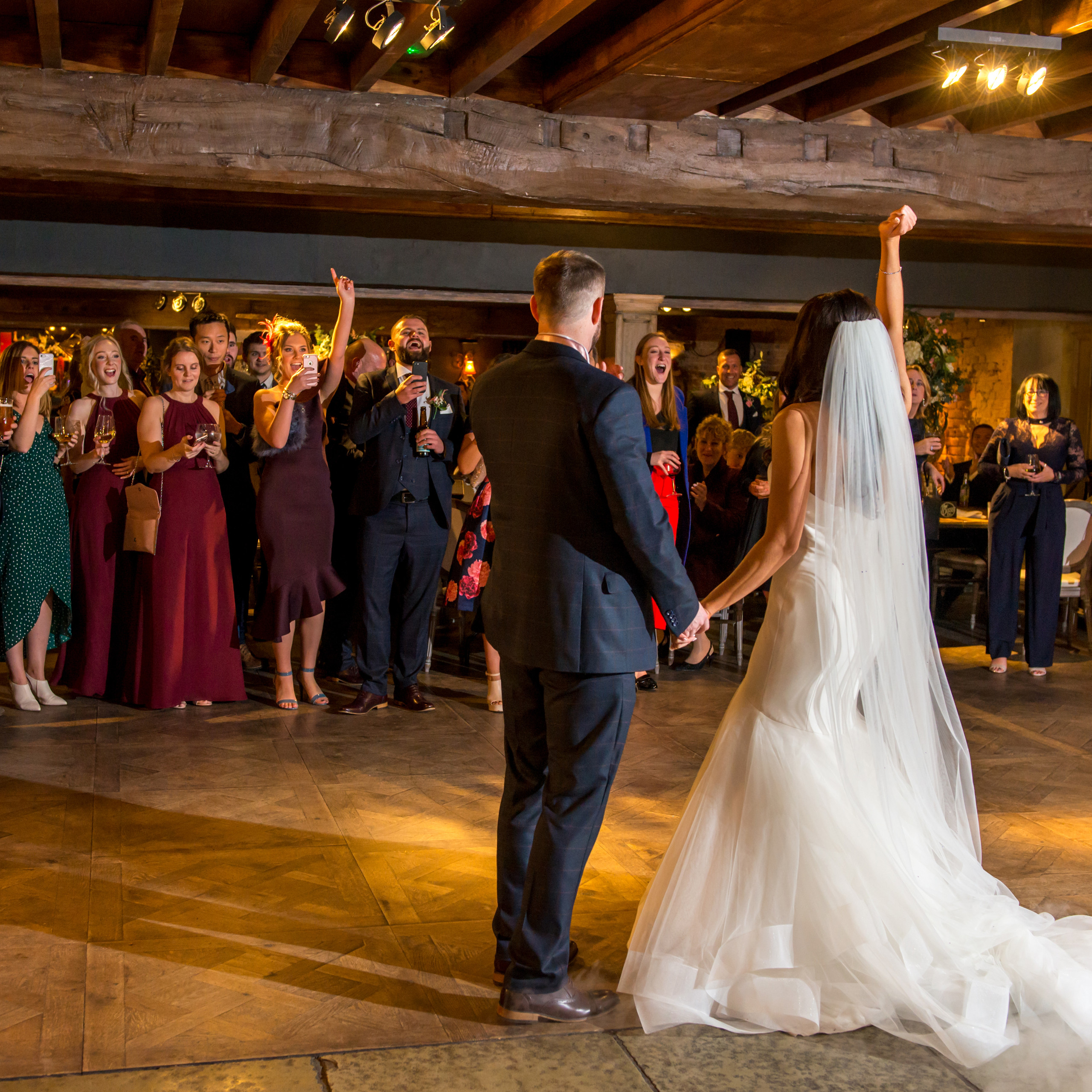 First dance photograph of stunning bride and groom celebrating at Le Petit Chateau in Otterburn, Northumberland