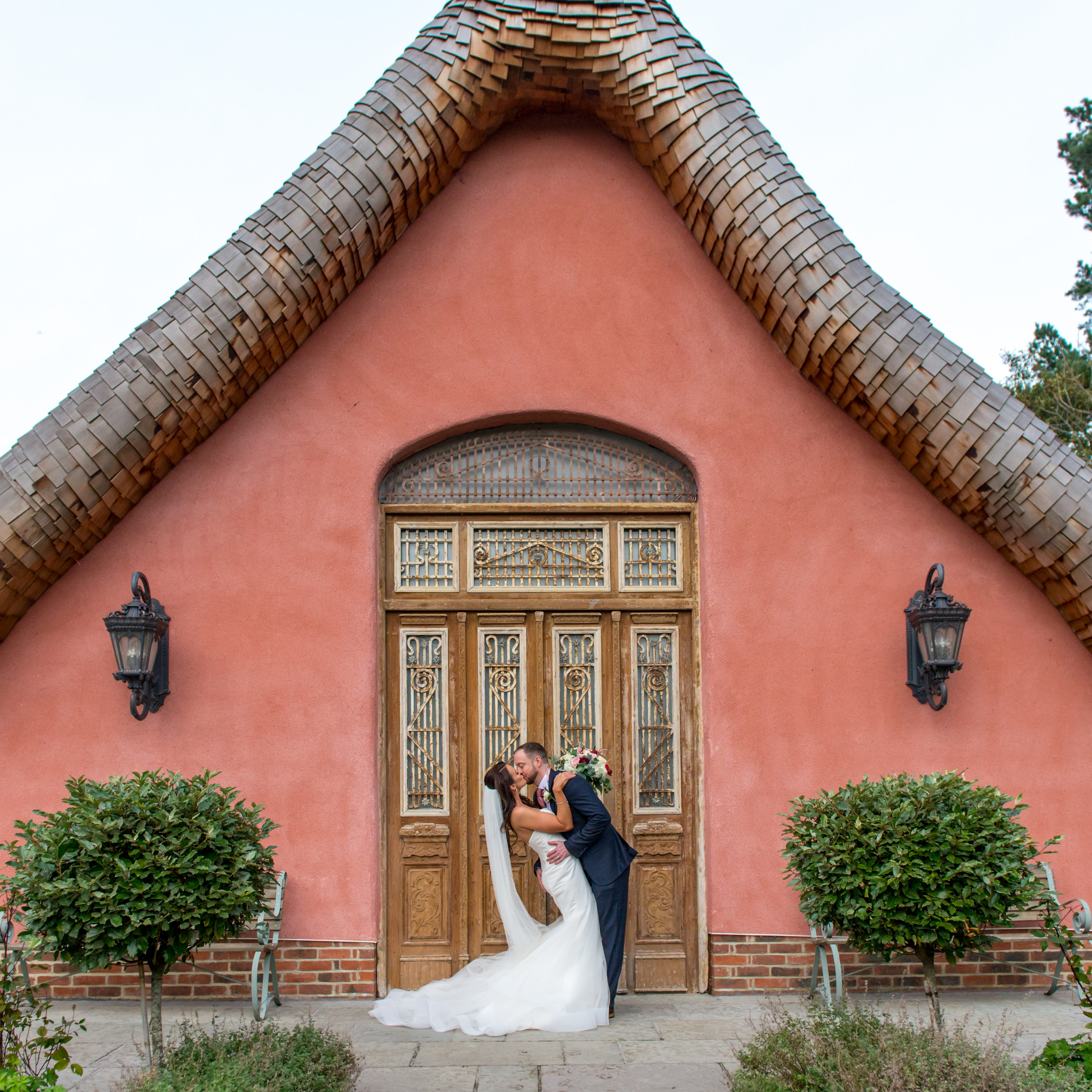 Photograph of bride and groom's kiss on wedding day at Le Petit Chateau in Otterburn, Northumberland