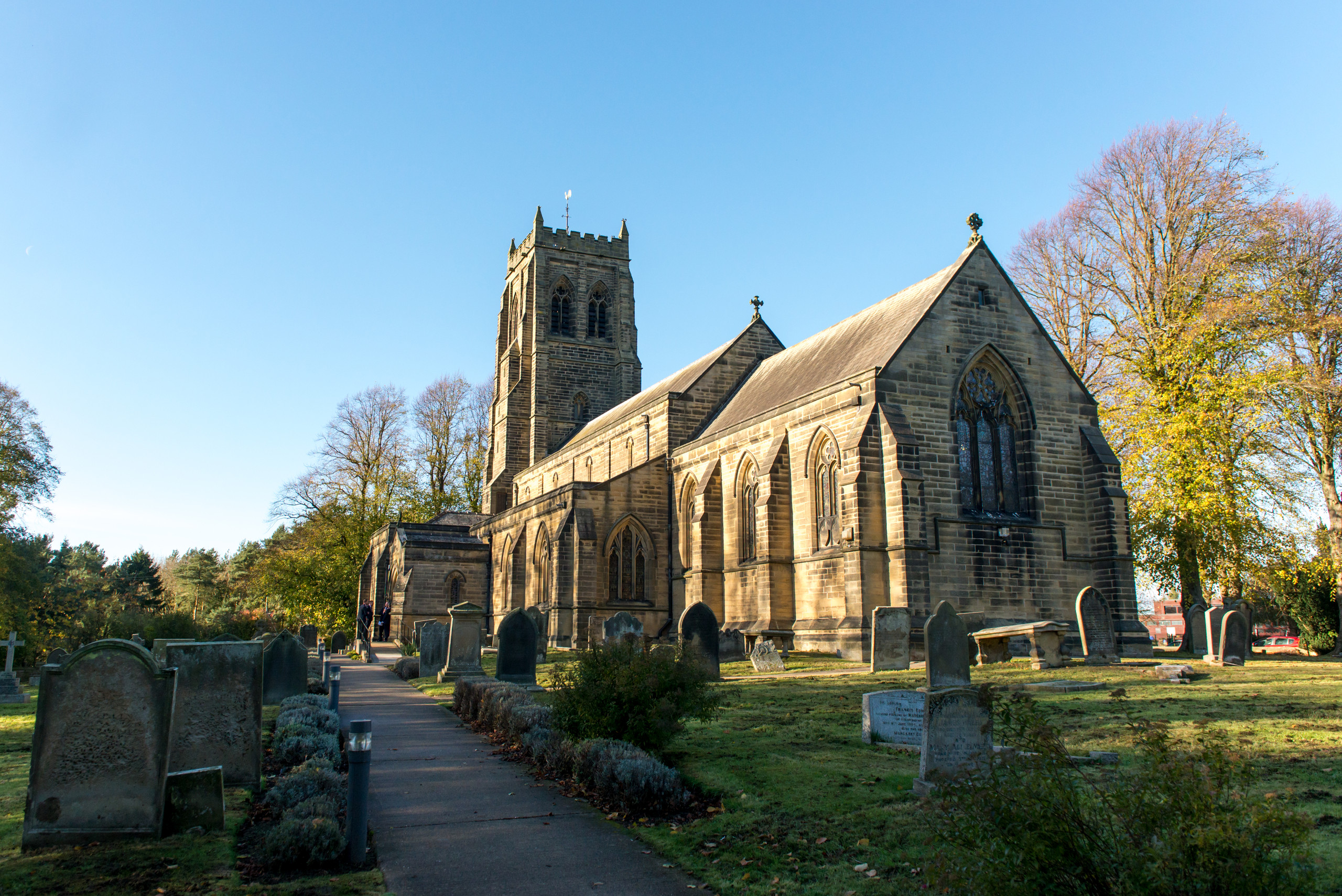 Wedding day ceremony at Saint Mary / St Mary's Church in Stannington, Northumberland