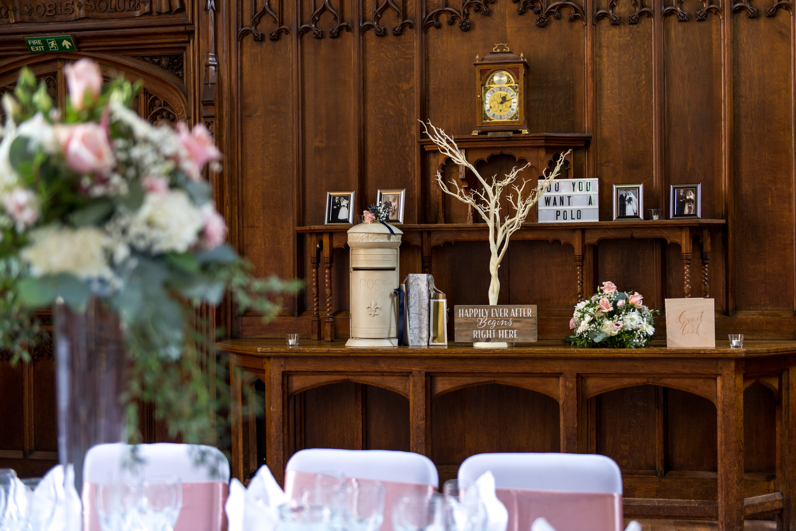 Photograph of wedding tree, post box and bridal bouquet